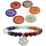 QGEM Schmuck 7 Chakra Healing Edelstein runde Scheibe Sanskrit Symbol Feng Shui Reiki Energietherapie yoga Dekoration+Balance Buddha-Armband mit Lotus Anhänger für Damen Herren
