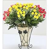 HUPLUE Wand Stehend mit Körben Holz-Vasen mit Blumen, mit Rattan Weaving Aufbewahrungsbox