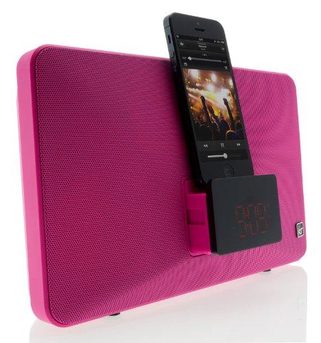 KitSound Fresh Radio Uhr Dockingstation Ladegerät mit Lightning Anschluss für iPhone 5/5S/5C/SE/6/6 Plus/6S/6S Plus, iPod Nano 7. Generation und iPod Touch 5. Generation, mit EU-Netzstecker - Pink