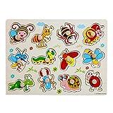 SIPLIV Pegged Puzzle in legno Jigsaw Puzzle per bambini da 2 a 5 anni, Home Learning Primi piani Educazione allo sviluppo Giocattoli e giochi, Insetti