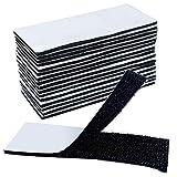 Akuoly 16 pezzi Fasce in Velcro Adesivi Biadesivi, Nastro velcro Adesivo per DIY creativo e riparazione casa, 4 x 10 cm, Nero