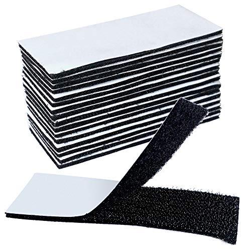 16 STÜCKE Klettbänder On & Off Klettband Selbstklebender Klettverschluss Haken- und Flauschband zum Fixieren und Befestigen, Extra Stark Klettverschluss in Schwarz mit Klebeseite, 4cm x 10cm / STÜCK -