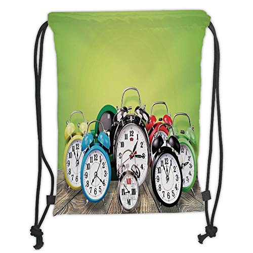 Fashion Printed Drawstring Backpacks Bags,Clock Decor,A Group of Alarm Clocks on the Wooden Ground Digital Print Nostalgic Design,Lime Green Soft Satin,5 Liter Capacity,Adjustable String Closure,T -