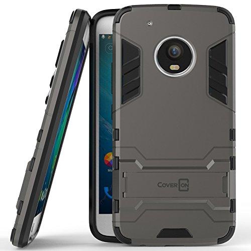 Moto G5Plus Fall, Moto G Plus 5. Generation Fall, Moto X 2017Fall, coveron [Shadow Armor Serie] Hard Slim Hybrid Phone Cover Schutzhülle für Motorola Moto X (2017Version)/G5Plus, Gray/Black (Cricket G Phone Moto)