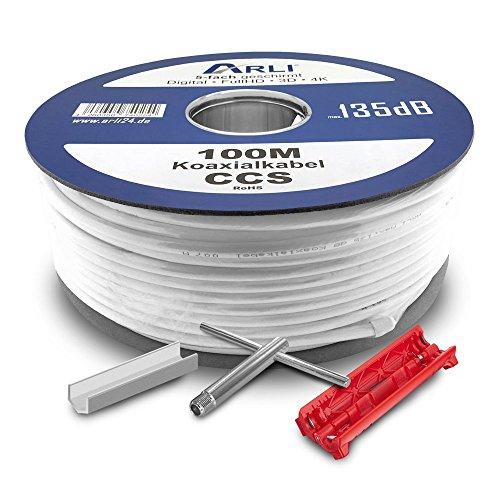 HD Sat Kabel 100 m Koaxialkabel 135 dB 5 fach geschirmt + Werkzeugset Abisoliermesser Aufdrehhilfe Abisolierer Kabelmesser Satkabel TV Antennenkabel DVB-S2 DVB-C2 DVB-T2 BK Anlagen Koax 4K ARLI (Schalter Koax B A)