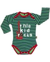 Rockabye-Unisex Baby Kid Rocks Rompr Long Sleeve BodySuit (Navy/Green)