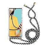 Miagon für Samsung Galaxy S8 Halskette Hülle,Klar Silikon Handy Schutzhülle Kordel zum Umhängen...