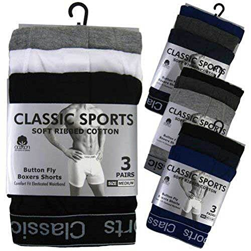 3 Pair Mens Designer Classic Sport Boxer Shorts Cotton Underwear Briefs Trunks (Large)