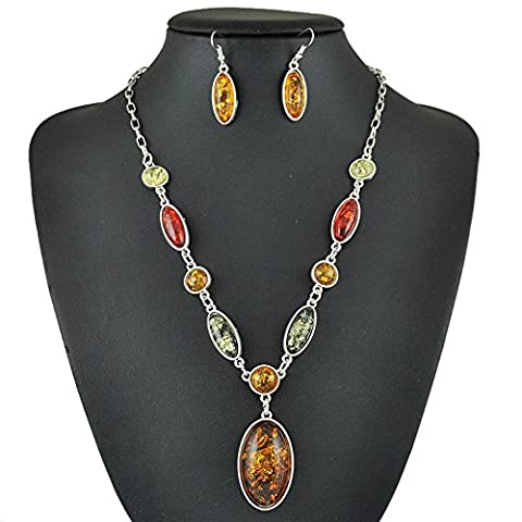 SaySureFR - Silver Plated Colorful Oval Shape Imitation Amber Jewelry Set