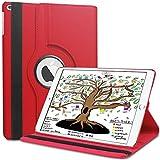 Coque Nouvel iPad 9.7 2018 / 2017 / Air2 / Air, HBorna 360° Rotation Housse Rotatif étui Case Cover et la Fonction Sommeil/Réveil Automatique pour Apple iPad 9,7 pouces 2018 2017 / iPad Air 2 / iPad Air, Rouge
