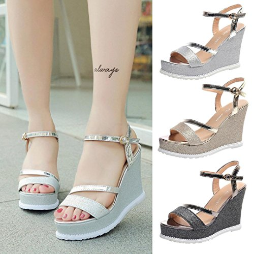 FALAIDUO Ladies Women Wedges Rome Shoes Summer Cross-Tied Buckle Strap Sandals Platform Toe High-Heeled Shoes