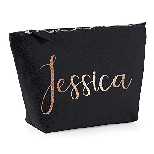 Personalised Name Make Up Bag Washbag Travel Birthday Valentines Christmas Present Gift New (Medium (26 x 12 x 9cm), Natural)