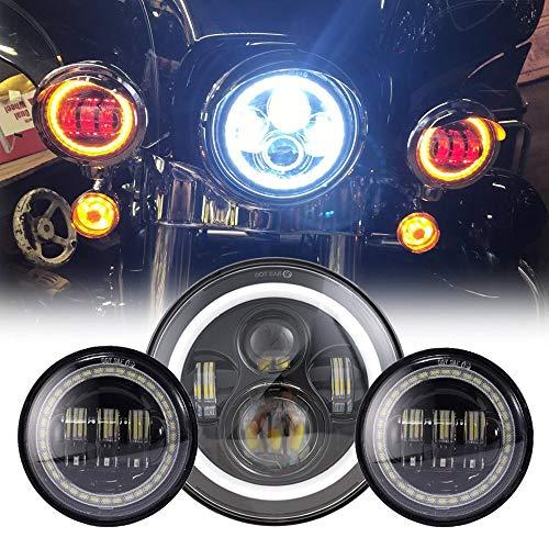Ein Leuchtturm 45W LED Rund 7Zoll mit Licht-Straße Kreuzung + 24.5Zoll-Nebel 30W Nebelscheinwerfer mit Angel Eyes für Motorräder Motorräder Harley Davidson (3Teile). chrom gelb (Motorrad Harley Davidson Teile)
