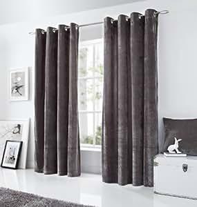 rideaux oeillet les rideaux confectionn s panneaux de velours rideaux 147cm x 183cm gris. Black Bedroom Furniture Sets. Home Design Ideas
