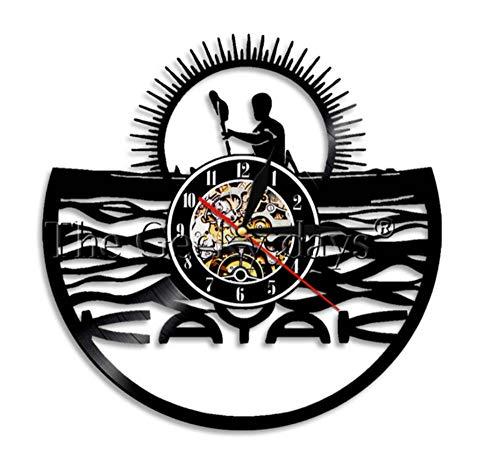 HHYXIN Reloj De Pared De Vinilo Kayaking Time Kayak WAL Clock Paddling Vintage Vinyl Record Reloj De Pared Rafting Decoración De Pared Diseño Moderno Regalos Deportivos para Kayakistas,12 Pulgadas
