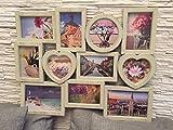 Fotorahmen Collage 11 Fotos, Herzform, XXL 60x46 cm, das perfekte Geschenk für den Liebsten/die Liebste, zur Hochzeit, zum Geburtstag, beige/Holzoptik, Kunststoff, romantisch 11 Fotos zu je 10x15cm