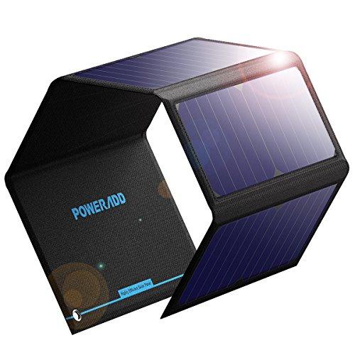 POWERADD 24W Faltbar Solarpanel solar Ladegerät wasserdicht mit USB Anschlüsse für ipone, Huawei, Samsung, Xiaomi, Tablets und andere USB-Geräte
