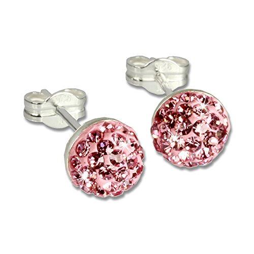 SilberDream Glitzer Ohrstecker Halbkugel rosa Preciosa Elements 925 Sterling Silber Ohrringe GSO217A (Ohrstecker Rosa)