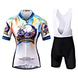 Thriller Rider Sports® Donna Dream of Travel Sport e Tempo Libero Abbigliamento Ciclismo Magliette Manica Corta e Pantaloncini Cinturino Combinazione Medium