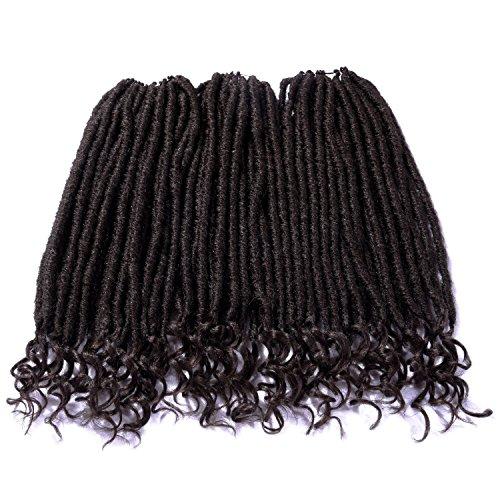 silike 45,7cm Gelockt Ende Dread Lock Crochet Haar (24Wurzeln/Stück, 3Stück) lose Ende Faux Loks Crochet Zöpfe Göttin Loks Haar Erweiterung (schwarz) (3 Göttin Zöpfe)