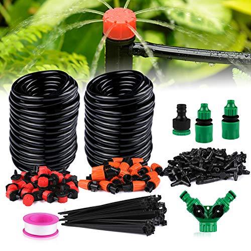 Xddias Bewässerungssystem Garten, 30m Automatische Bewässerung Kit mit Einstellbaren Sprinkler, DIY Gartenschlauch Micro Drip Gartenbewässerungs Kits für Gewächshaus Terrasse Pflanzen