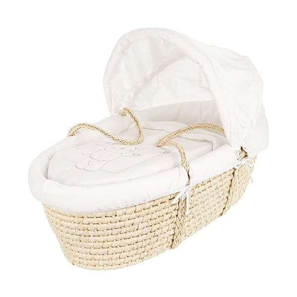 Obaby B is for Bear Moses Basket (White) Obaby Wicker moses basket and mattress included Removable liner Embroidery patchwork square blanket 1
