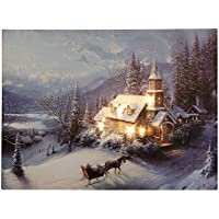 LED Bild Winterlandschaft Kirche in den Bergen Weihnachten Leinwand Wandbild 30x40cm