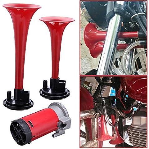 Iglobalbuy 12V 110dB Red doppia tromba d'aria Horn Compressore Kit Super forte Auto Treno crogiolo (Super Forte Horn)