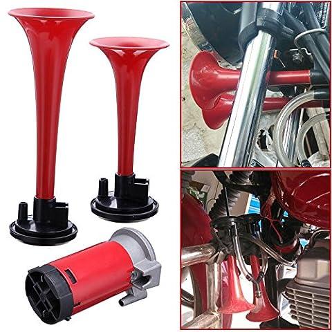 Iglobalbuy 12V 110db Red Double Trumpet Air Horn Compressor Kit