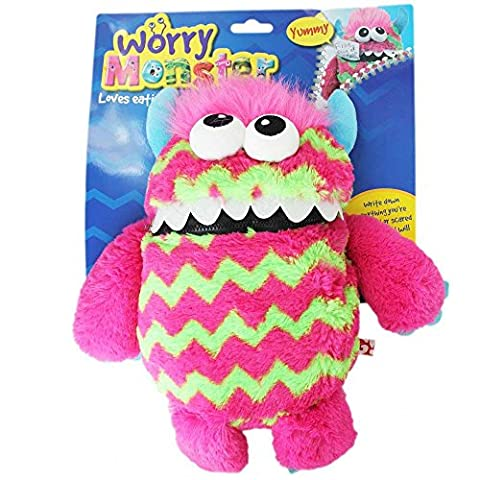 Children's Kids Worry Monster Soft Plush Toy With Zip Up Mouth Eats Worry Notes Sleep Companion Fluffy Fur With Troll Hair pink &