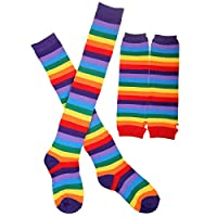 Tinksky Rainbow Strips Arm Warmer Leg Stocking Colorful Thigh High Socks Fingerless Gloves Sleeve Set for Women Girls Carnival Party Props