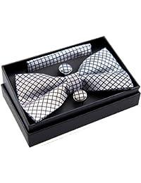 """Compruebe con textura Tejido PRE-TIED BOW TIE (5"""") W/bolsillo cuadrado & gemelos Set de regalo"""