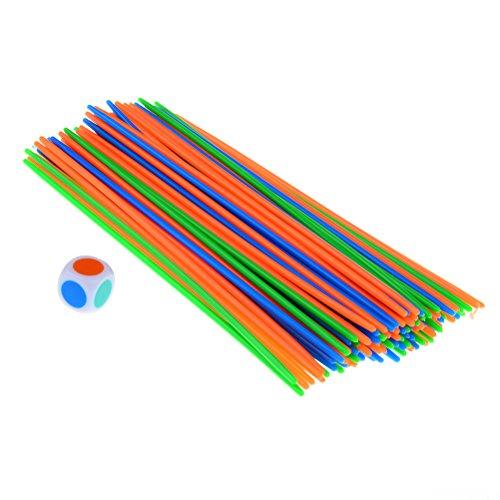 LUKUPONE 100Pcs Kunststoff Pick up Sticks mit Einen Würfel Classic Game Fun Familie und Party Spiel Gute Kinder Geschenk