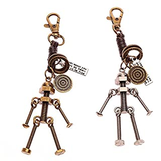 2PCS Couple Key Chain Creative Keychain Ring for Girlfriend Valentine Christmas Gift Woven Leather Rope (1#Screw Robot)