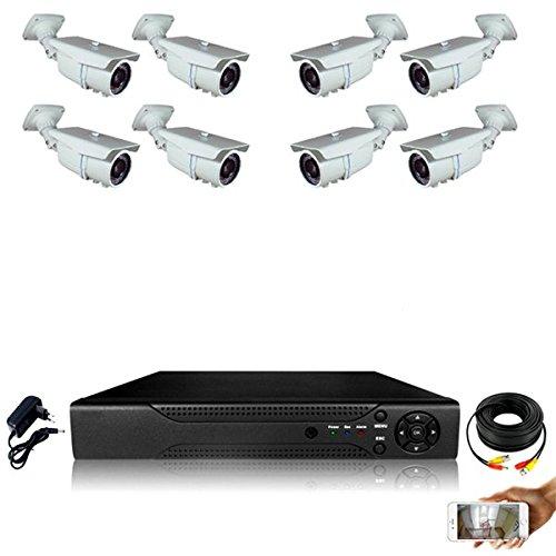 Kit-videovigilancia-8-Cmaras-tubos-Pro-Full-AHD-1080P-Sony-24-MP--incluye-4000-GB-8-Cable-de-20-m-incluye-pantalla-22
