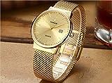Wwoor Herren-Armbanduhr Analog Quarz wasserdicht Mesh-Armband Edelstahl Slim Watch Automatik Datum Einheitsgröße Gold
