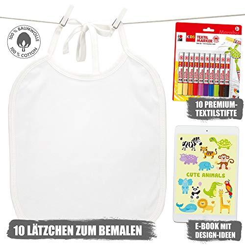 Booga Baby 10 Weiße Lätzchen zum Bemalen für Babyparty, Baby Shower, 10 Marabu Textilstifte, eBook
