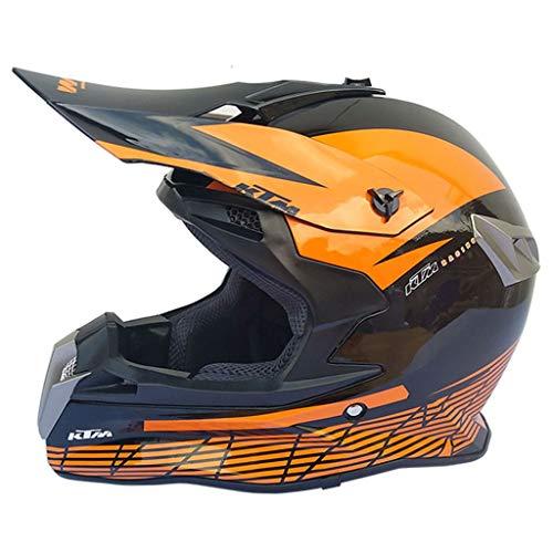 Yanbeng Casco Moto Cross Uomo Quad Crash DH ECE - YEMA YM-915 Casco Integrale ATV Dirt Bike Helmet MX ATV Casco Moto per Adulto,Arancia,M