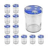 12er Set Sturzglas 435 ml To 82 Deckel mit Schneeflocken Marmeladenglas Einmachglas Einweckglas