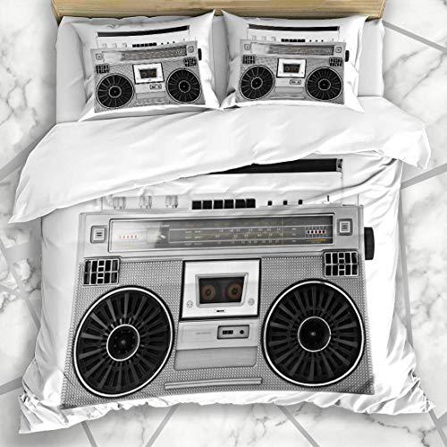 VORMOR Bettwäsche - Bettwäscheset Studio Stereo Silber Retro Ghetto Blaster Audio Boombox Hip Vintage Box Boom Radio Altes 80er Jahre Design Mikrofaser weich dreiteilig200*200