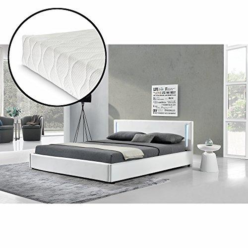 [my.bed] LED Elegantes Polsterbett mit Kaltschaum-Matratze (H2) – 180x200cm – Kunst-leder (weiß) – Bett / Doppelbett / Bettgestell inkl. Lattenrost