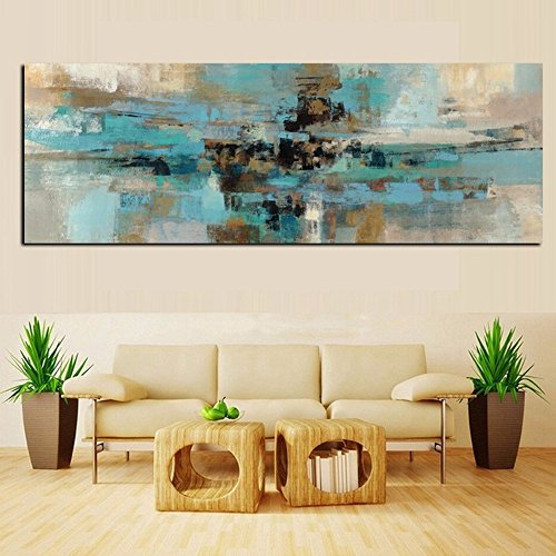 XIAOXINYUAN HD-Print Leinwand Gemälde Hellblau Landschaft Abstraktes Ölgemälde auf Leinwand Wand Kunst Schlafzimmer Wohnzimmer Sofa Home Decoration 60 X 180 cm Ohne Rahmen