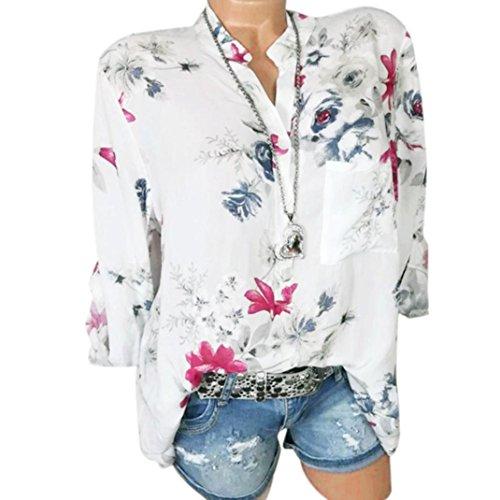 Kobay Damen Übergröße Chiffon Blumenmuster Lange Ärmel Kragen Bluse Pullover  Tops Shirt(XX-Large,Weiß) dbb2333487
