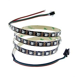 ALITOVE Addressable WS2812B 5050 RGB LED Strip 3.2FT 60pixel/M SMD Full Color Flexible Pixel Rope Light Non Waterproof 5V Black PCB …