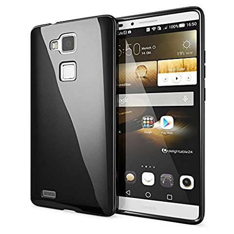 Huawei Ascend Mate 7 Coque Protection de NICA, Housse Silicone Portable Mince Souple, Tele-phone Case Cover Premium Incassable Ultra-Fine Resistante Gel Slim Bumper Etui - Noir