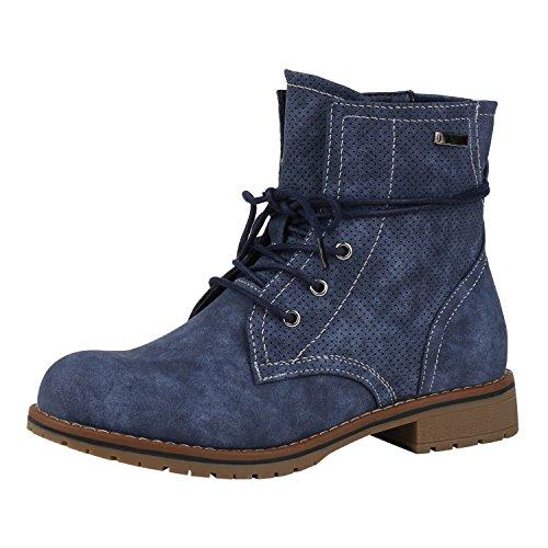 napoli-fashion Damen Stiefeletten Worker Boots Schnürstiefeletten Schuhe Blau Blue 39 Jennika