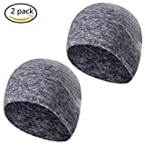 Tagvo Winter Fleece Beanie, Running Beanie Hat Headwear with Ear Covers, Helmet Liner for Adults Women and Men Elastic Size Universal(Grey-2Pack)