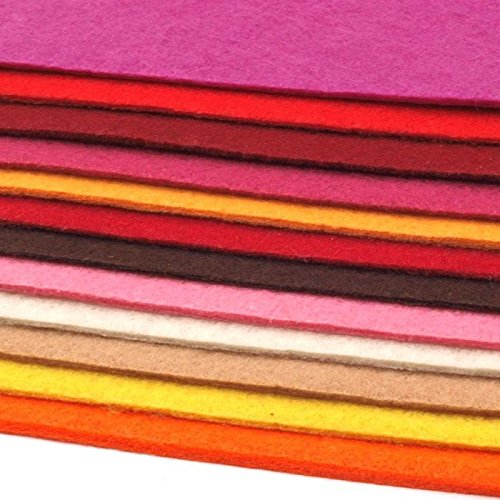 12 Filzplatten Bastelfilz Filz Farbmix 2-3 mm dick DIN A4 20×30 cm