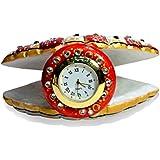 Amazingindia Handmade Indian Kundan Work Painted Marble Clock Showpiece Artefacts