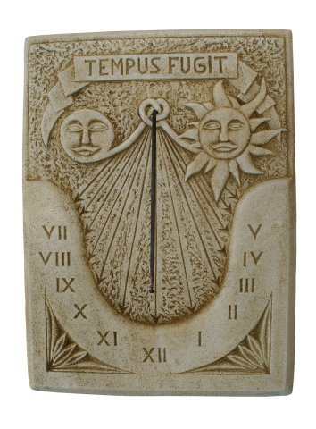 Uhr der Sonne in Stein Wand Außen Tempus Fugit 60x 80cm.